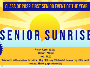 Join us for Senior Sunrise Friday, August 20th 6 AM-7:30 AM!