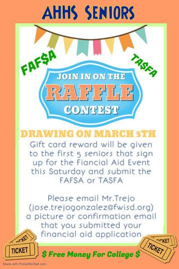 Senior FAF$A Raffle Contest Drawing March 5th!