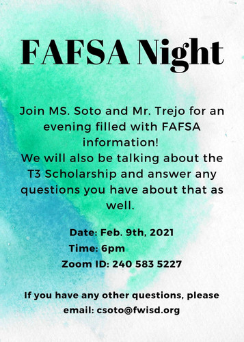 Join us for a virtual FAFSA Night, Tuesday, February 9th @ 6PM