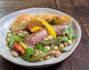 Saucisse italienne et sope au pistou