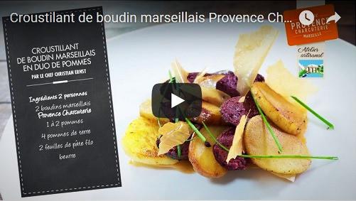 Croustillant de boudin marseillais en duo de pommes