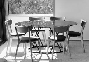 Glass and Steel Dining Table
