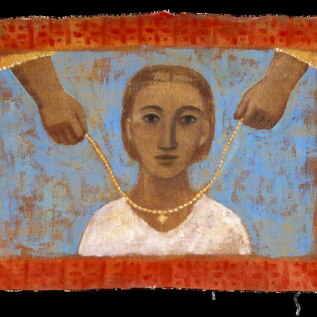 Il dono, 52x95 cm, tempera su tela, 2000