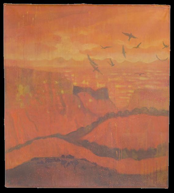 Rossofuoco, pigmenti su tela, cm 148x165