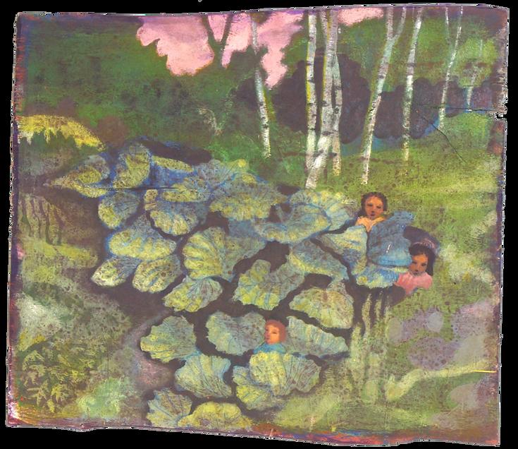 Sera d'estate, pigmenti su legno, cm 59x