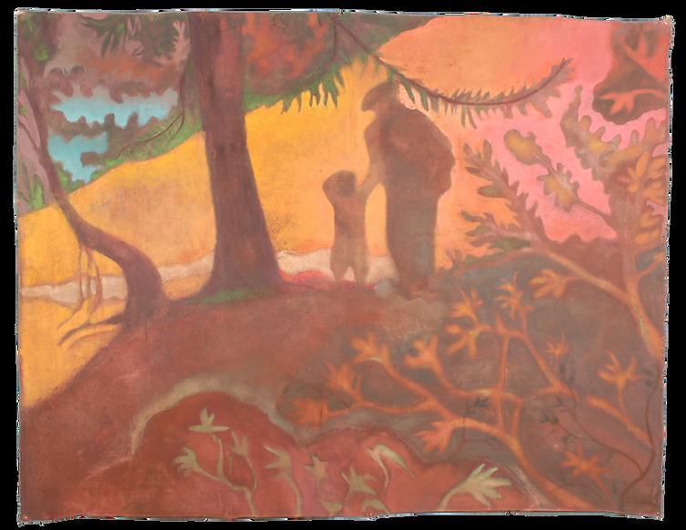Nel bosco incantato, pigmenti su tela, c