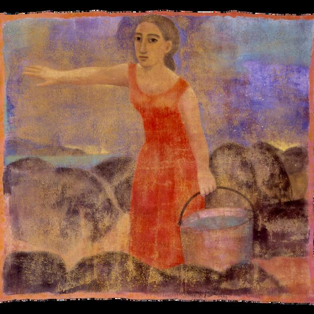 Il secchio, tempera su tela, 150x160 cm,