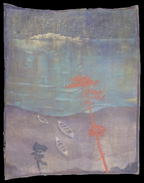 Notturno, pigmenti su tela, cm 148x184,