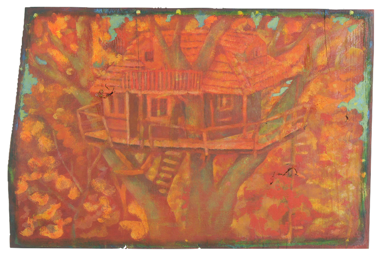 Una casa per l'autunno, pigmenti su legn