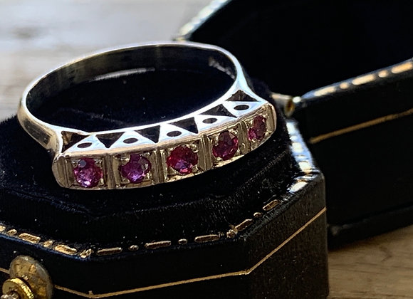 The Adaline Vintage Palladium Ruby Ring