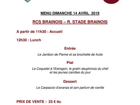 Menu VIP 14/04/2019