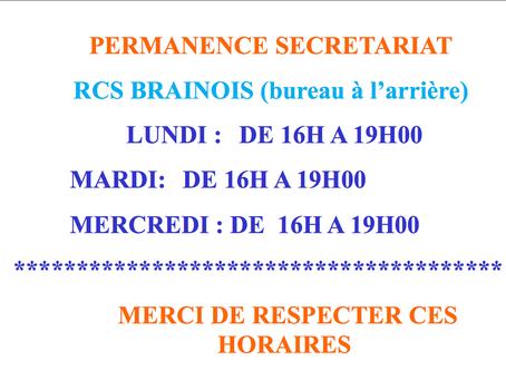 Permanences du secrétariat