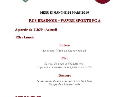 Menu VIP dimanche 24 mars 2019