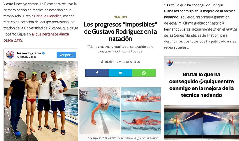Mejoras conseguidas en el nado con triatletas de élite como  Fernándo Alarza y Gustavo Rodriguez con nuestro trabajo en su técnica de natación.
