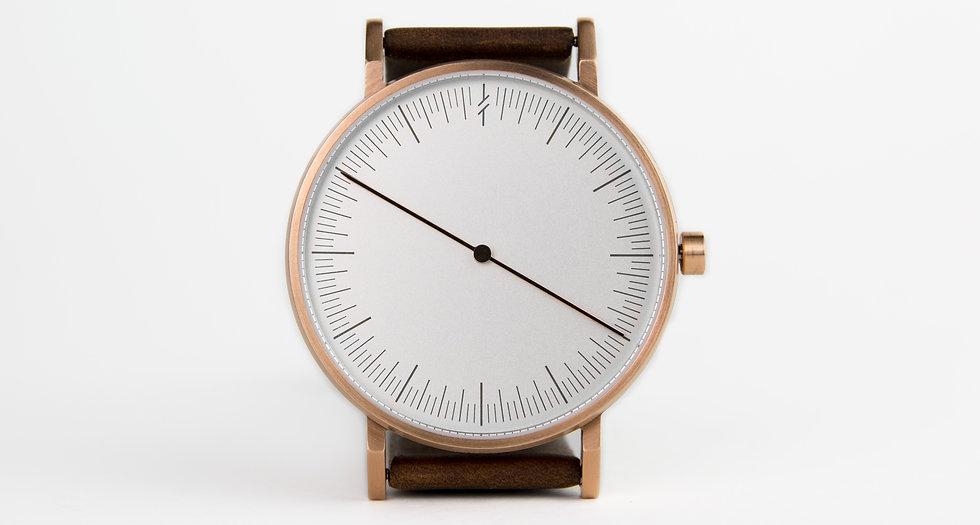 design watch , leather strap ,one hand watch