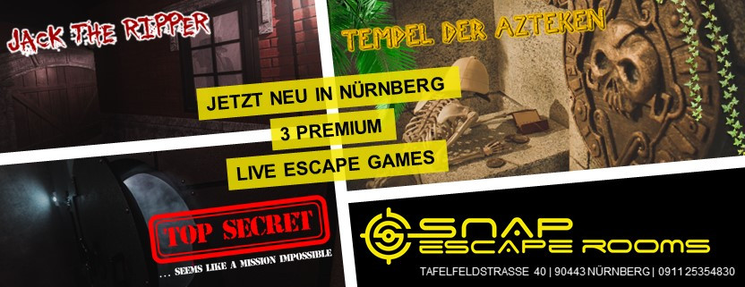 Snap Ecape Rooms eröffnet in Nürnberg 3 Premium Escape Games: Jack the Ripper, Tempel der Azteken, Top Secret