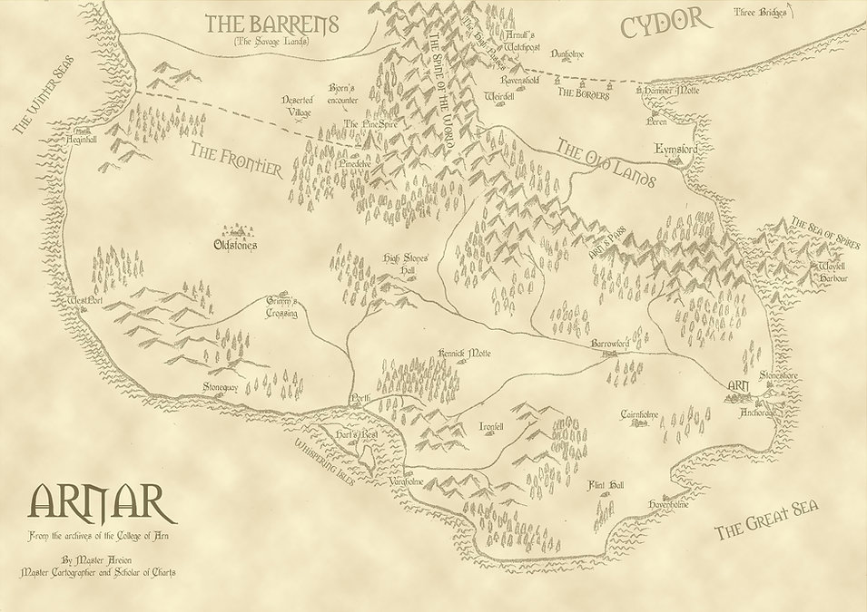 Map of Arnar from A Ritual of Bone and The Dead Sagas