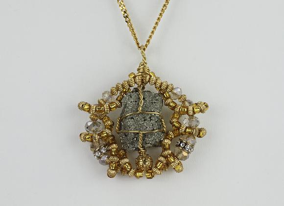 Mini Pyrite Knot Amulet Necklace