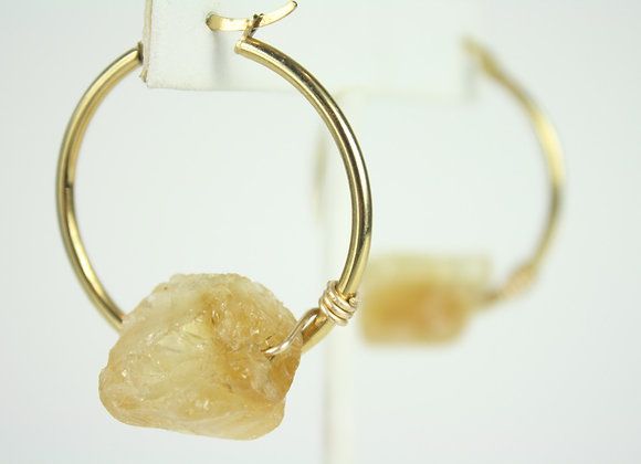 Mini Citrine Hoops