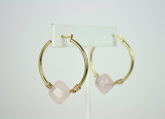Diamond Rose Mini Hoops