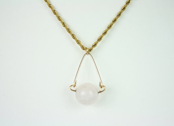 Rose Quartz Ball Mini Necklace