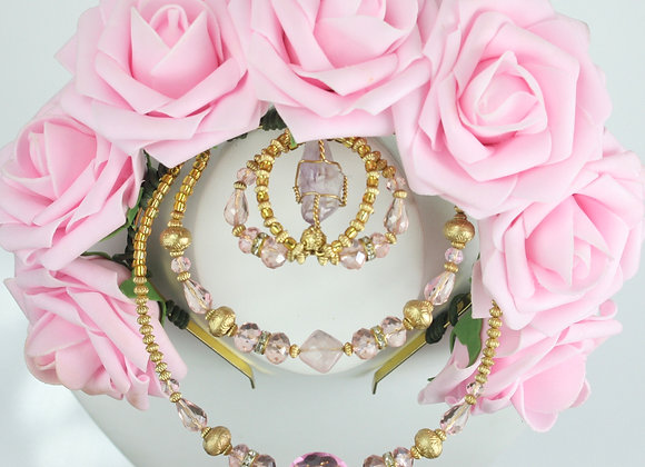 Pink Flower Crown: Amethyst Forehead Piece