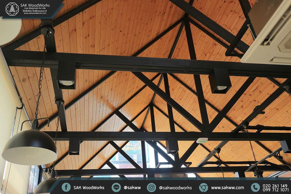 ร้านกาแฟ,ไม้สน,ไม้ฝาสน,ไม้ฝ้า,เพดาน