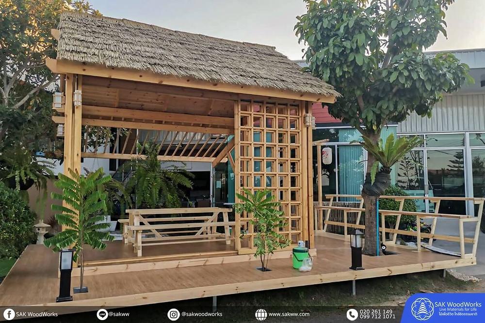 ศาลาไม้,ไม้สน,สไตล์ญี่ปุ่น,ญี่ปุ่น,ตกแต่ง,ไม้โครง,ไม้แปรรูป,ร้านกาแฟ,ตกแต่งร้านกาแฟ