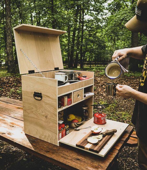 กล่องไม้,กล่องไม้สน,DIY,แคมป์,ตั้งแคมป์,เครื่องครัว,กล่องเก็บของ,ไม้สน