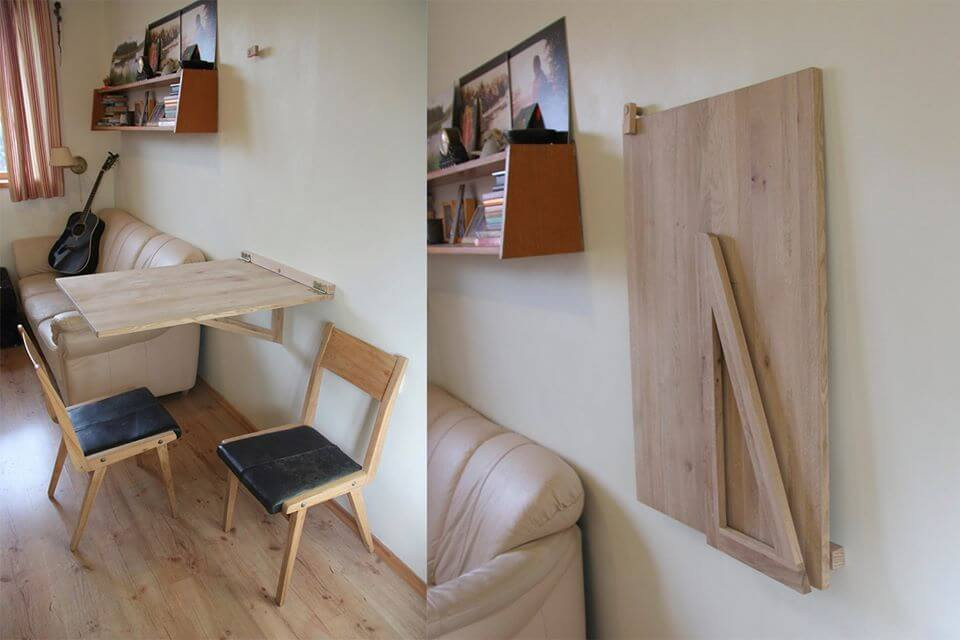 โต๊ะไม้ ติดผนัง ไม้สน