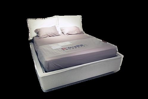 SANDY BASIC 1.6米白皮灰麻布床