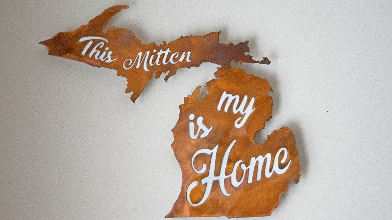 This Mitten is My Home wall hang-rustic copper