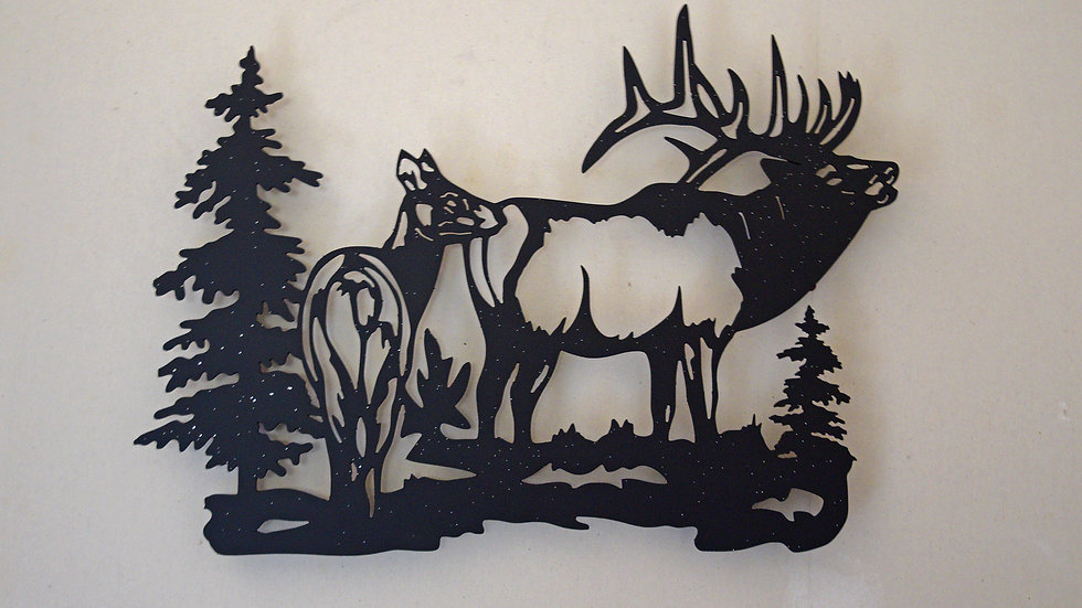 Bull and cow Elk wall art