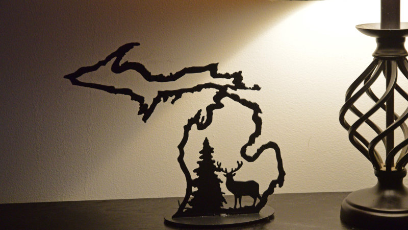 Michigan Outline w/ Deer Candle Holder