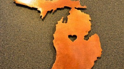 Michigan Heart Copper Patina Magnet