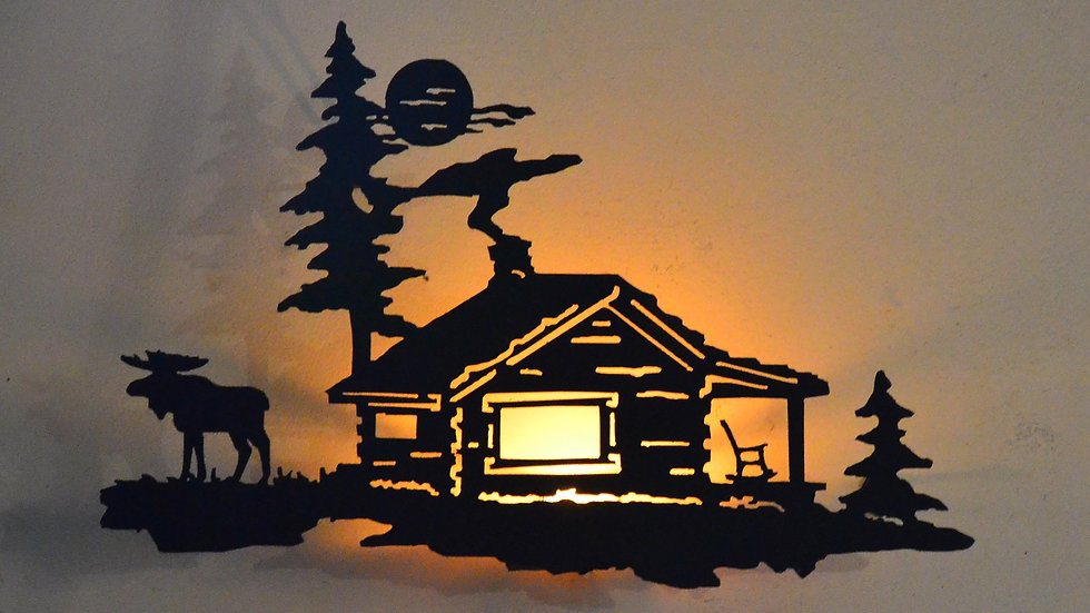 Moose & Cabin Candle Holder