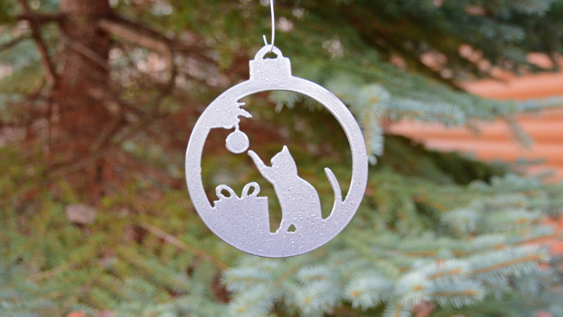 Playful Cat Bulb Ornament (Silver)