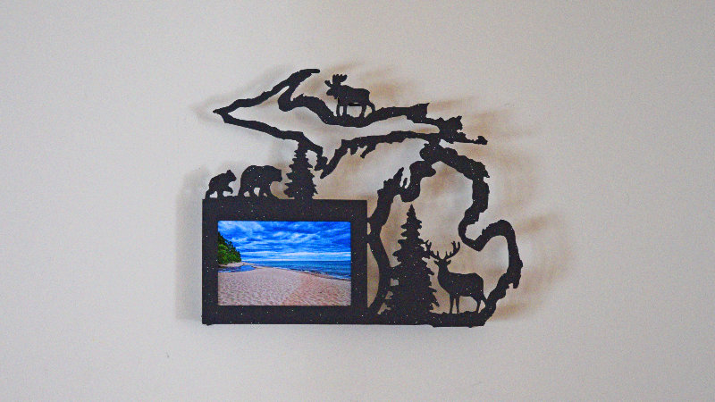 Michigan Outline Landscape Picture Frame
