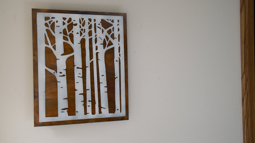 Birch trees wall art with rustic copper