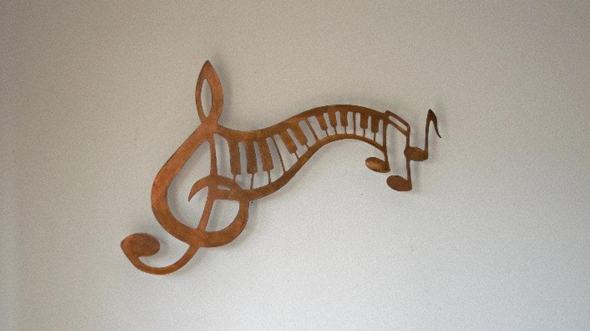 Keyboard and notes wall art