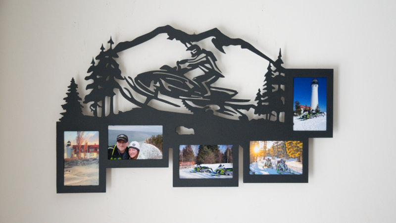 Snowmobiler 5 photo picture frame w/ mountain wall hang