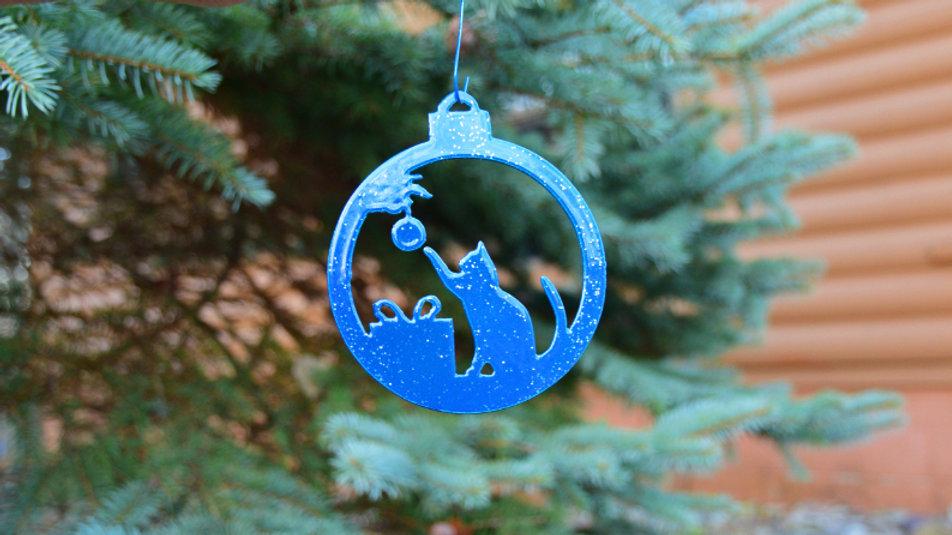 Playful Cat Bulb Ornament (Blue)
