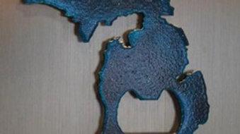 Michigan Metallic Blue Magnet Bottle Opener