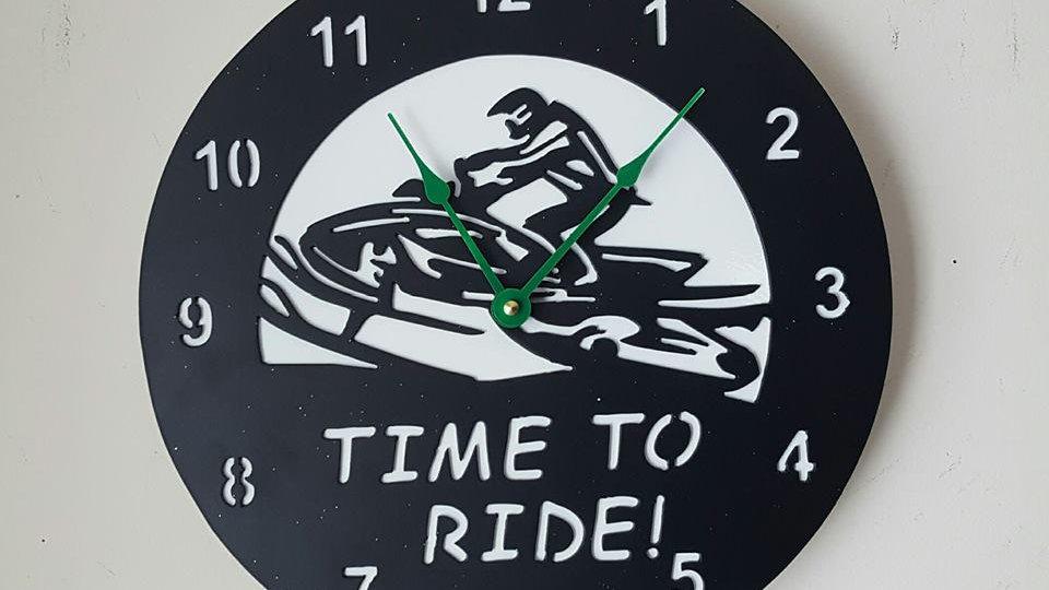 "Time to ride 12"" diameter clock"