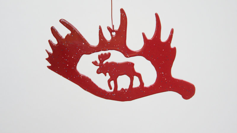 Moose in antler ornament-metallic red