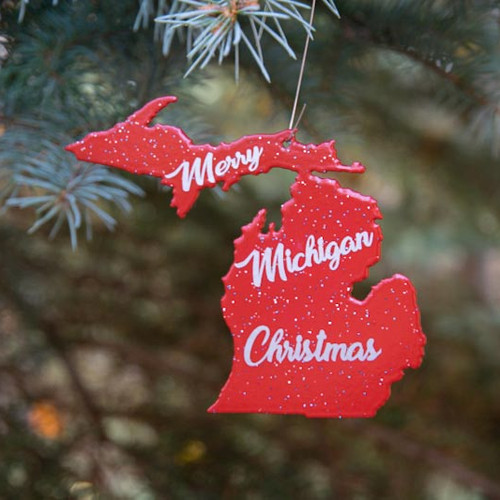 Merry Michigan Christmas ornament-red - Michiganinmetal Ornaments