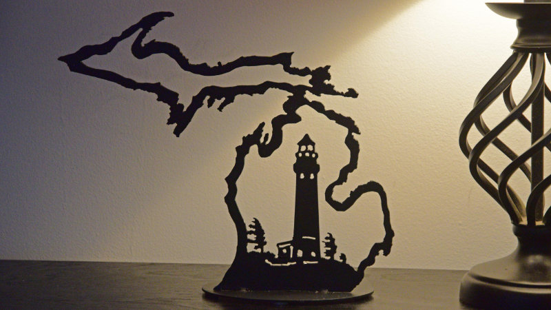 Michigan Outline w/ Lighthouse Candle Holder