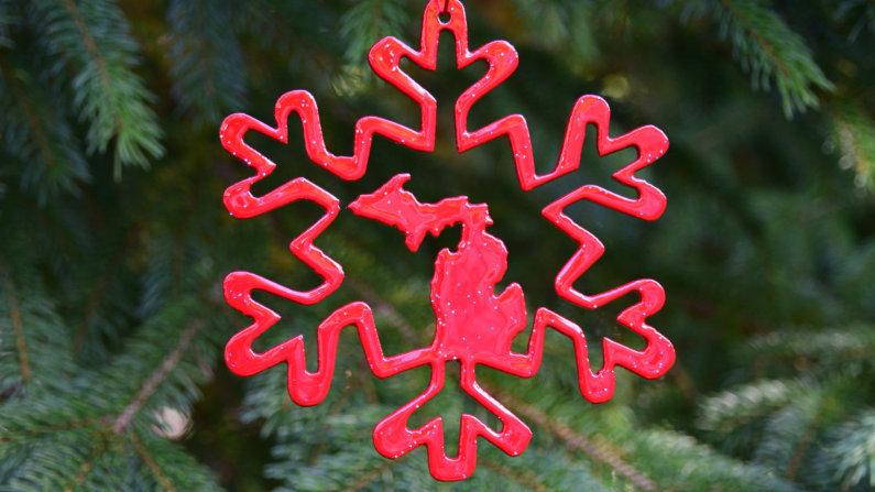 Michigan Snowflake Ornament (Style 4)