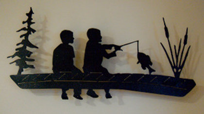 Kids Fishing on a Dock Wall Hanging