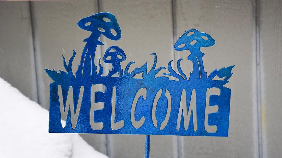"""Welcome"" Mushroom Garden Stake"